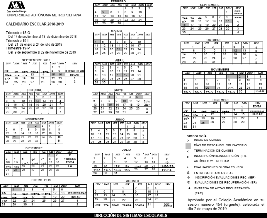 Calendario 18.Uam Universidad Autonoma Metropolitana Calendario Escolar
