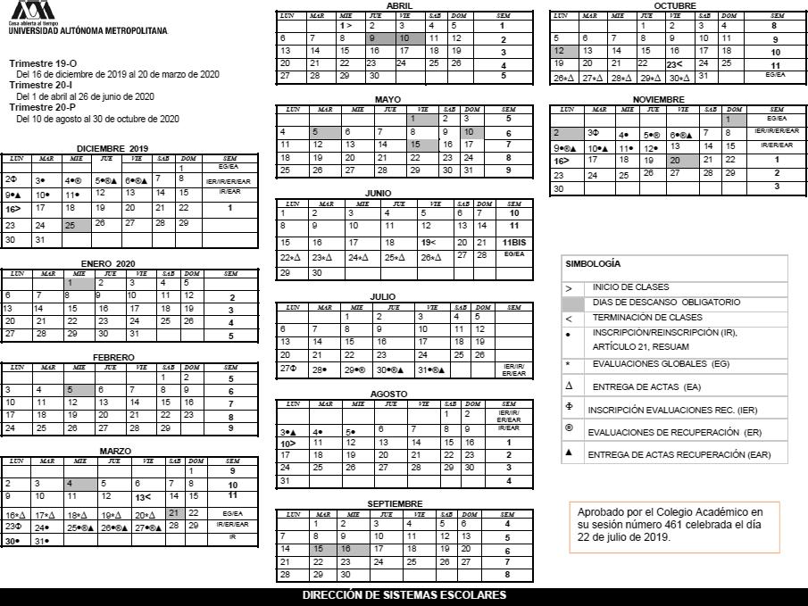Calendario Julio Del 2000.Uam Universidad Autonoma Metropolitana Calendario Escolar